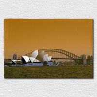 תמונה של אטרקציות הדפס בד ציור אמנות בית האופרה של סידני אוסטרליה ו גשר נמל פיין מתנה עבור משלוח חינם תינוק