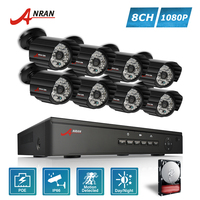 ANRAN P2P Plug And Play 1080P 8CH POE NVR HD 48 IR Outdoor Waterproof Bullet Security