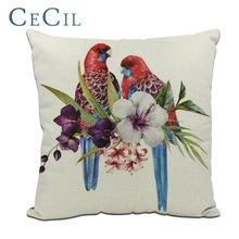 Cecil Tropical Plants Printing Parrot Pillow Cover Home Sofa Cushion Linen Cotton Green Leaf Flamingos Pillowcase