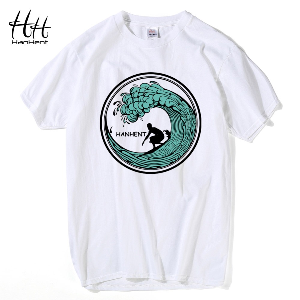 HanHent New Design Waves Men's T shirts Cotton Short ...