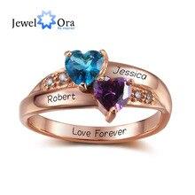Birthstone Heart Rings 개인화 된 보석 조각 925 스털링 실버 CZ 반지 소녀를위한 생일 선물 (JewelOra RI102347)