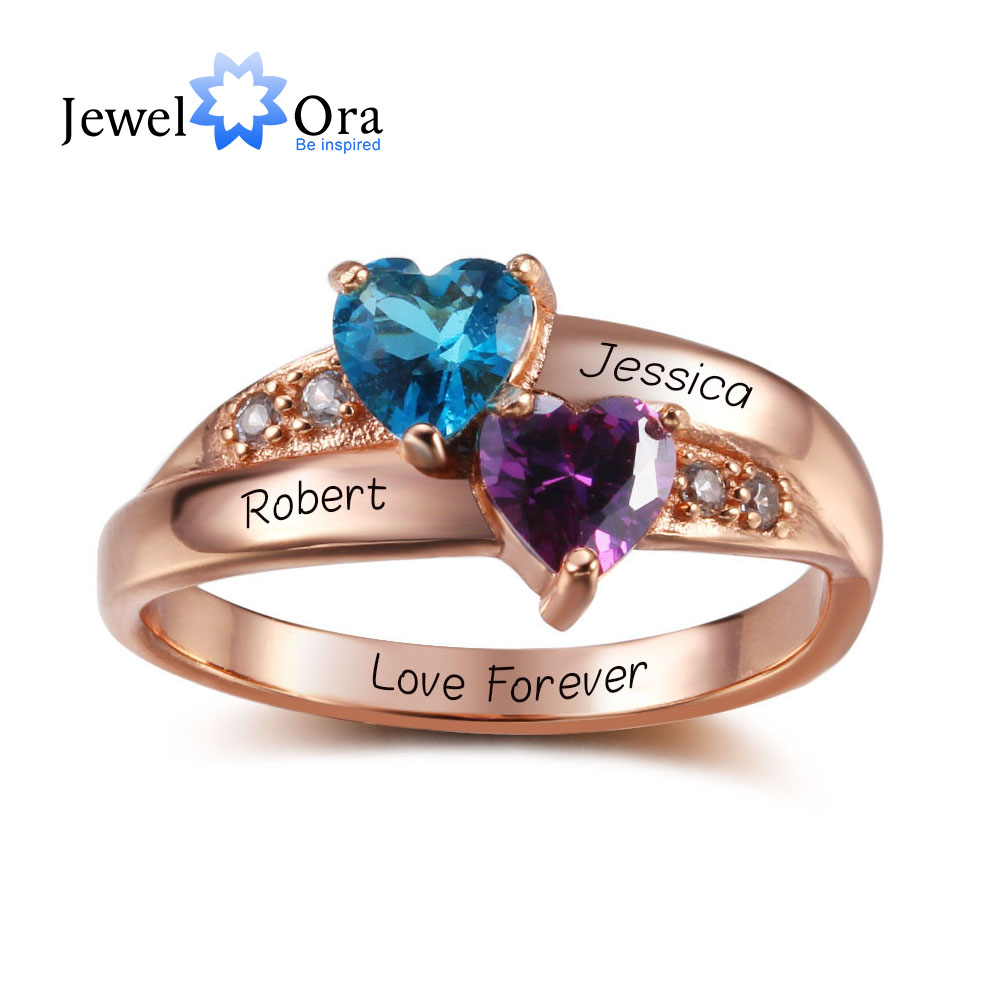 Birthstone Heart Rings Personalized Jewelry Engrave 925