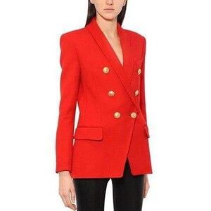 Image 1 - Yüksek kalite yeni moda 2020 tasarımcı Blazer kadın uzun kollu kruvaze Metal düğmeler uzun Blazer dış ceket