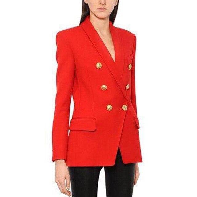 Yüksek kalite yeni moda 2020 tasarımcı Blazer kadın uzun kollu kruvaze Metal düğmeler uzun Blazer dış ceket
