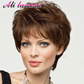Short Wigs For Black Women Pixie Cut Wig Heat Resistant Synthetic Wigs Curly With Bangs African American Cheap Wigs For Women