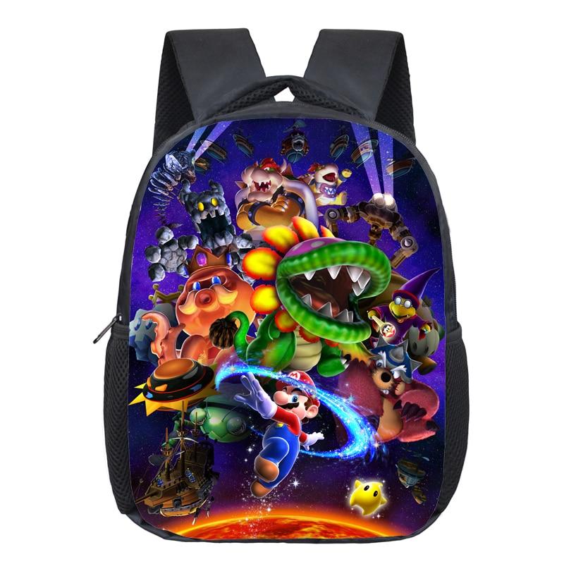 Купить с кэшбэком 13 Inch Mario Bros Kids Backpack Kindergarten School Bag Children Printing Backpack Girls Boys Mochila