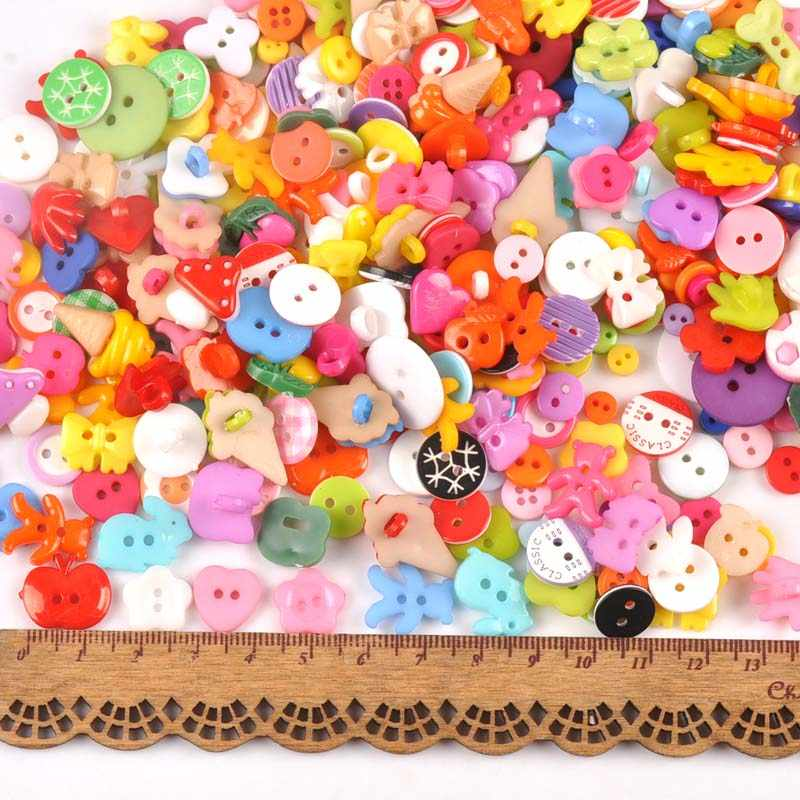 100 Buah Campuran Batang dan Pipih Kartun Dicelup Plastik Tombol untuk Anak-anak Mantel Sepatu Menjahit Pakaian Scrapbooking DIY Kerajinan MT1895
