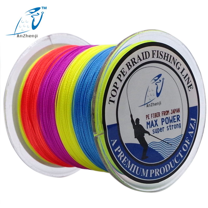 ANZHENJI Japan Material 500M 4 Strands PE Multifilament Braided Fishing Line For Carp Fly Ice Fishing 10-100LB pesca