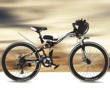 21 Speeds, 24 inches, 36/48V, 240W, High-carbon Steel Frame, Folding Electric Bicycle, Full Suspension, Disc Brake. E Bike.