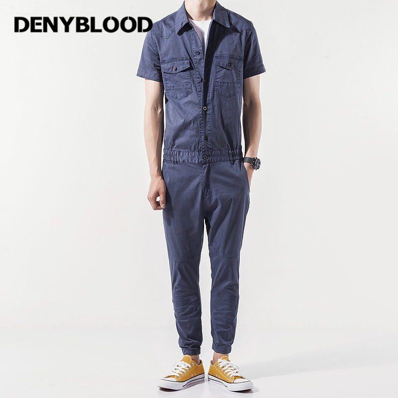 Denyblood Jeans Mens Chinos Overalls Slim Straight Eastic Bottom Stretch Bib Pants Jumps ...