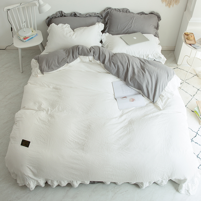 Us 54 33 42 Off Girls White Gray Pink Soft Duvet Cover Bed Sheet Bedskirt Bedding Set Queen King Size Twin Bed Set Parure De Lit Ropa De Cama In