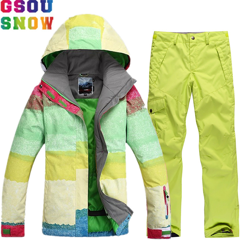 GSOU SNOW Brand Ski Suit Women Snowboard Jacket Pants Female Skiing Suit Snowboarding Set Winter Waterproof Outdoor Sports Coat woman snow jacket outdoor sports ski suit set waterproof windproof 30 warm snowboarding jacket pant ski suit set winter coat