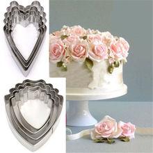 Фотография 4pcs Heart Peony Flower Fondant Sugarcraft Cake Biscuit Cutter Decorating Mold Mould Tool Free Shipping