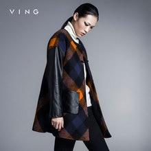 Ving Mulheres Outono Inverno Teste Padrão da Manta de Retalhos de Couro O-pescoço Médio-longo de Lã Trincheira Casaco