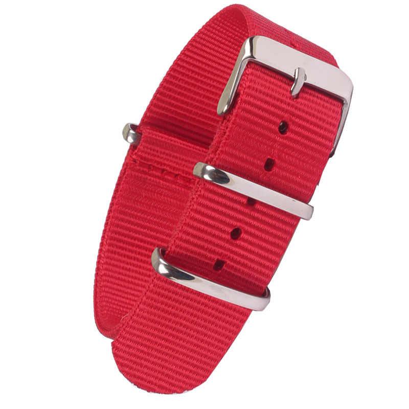 Nieuwe zulu Sterke 18 20mm 22mm horloge band band Rode horlogeband stof Nylon Nato Horloge rvs Gesp 20mm Man vrouwen