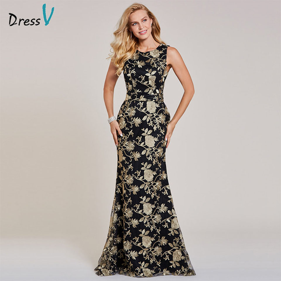 Dressv black long evening dress cheap scoop neck sleeveless mermaid wedding party formal dress embroidery evening dresses