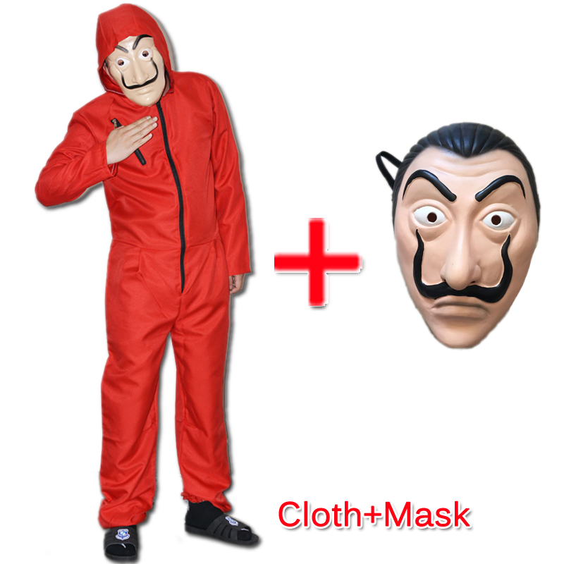 2 pçs salvador dali cosplay máscara de filme dinheiro assalto a casa de papel la casa de papel cosplay traje + máscara facial