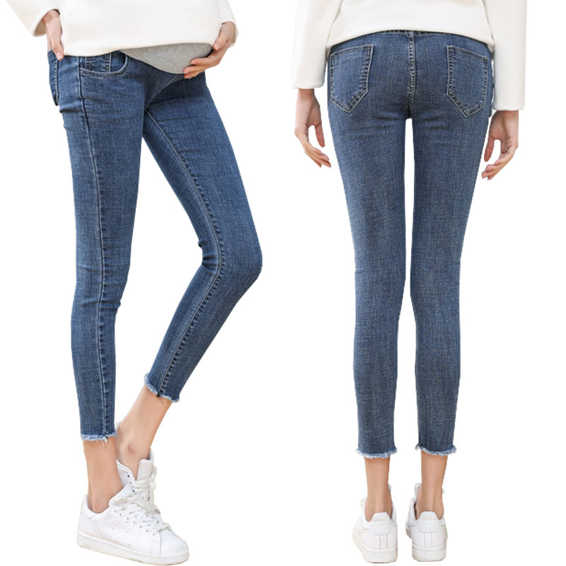 High Quality Ninth Pants Maternity Jeans For Pregnant Women Clothes Skinny Denim Stretch Jeans Pregnancy Pants Gravidas Clothing