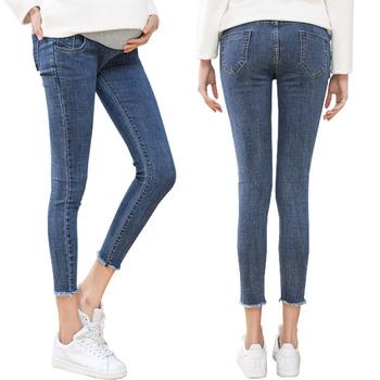 Wysokiej jakości dziewiąte spodnie jeansy ciążowe dla kobiet w ciąży ubrania Skinny Denim jeansy ze streczem spodnie ciążowe Gravidas odzież tanie i dobre opinie Macierzyństwo WOMEN Elastyczny pas XEIOBB spandex COTTON light Natural color