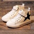 Infantil de las muchachas de las zapatillas de deporte 2017 de la marca de diseño del niño estrella casual shoes cuero genuino niños zapatillas de deporte de niño chico estrella shoes