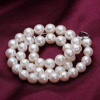 Free Shipping Perfect Circle Freshwater Pearl Necklace Long Necklace Of Natural Light White Pearl Jewelry 925
