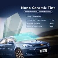 1.52x5m/60x16ft VLT 75% Light Blue Window Tint Nano Ceramic Solar Film Anti for Car Windshield Front Rear Window
