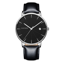 цена Men Fashion Black Quartz Watch Leather Watchband High Quality Casual Waterproof Wristwatch Gift for men's watches онлайн в 2017 году
