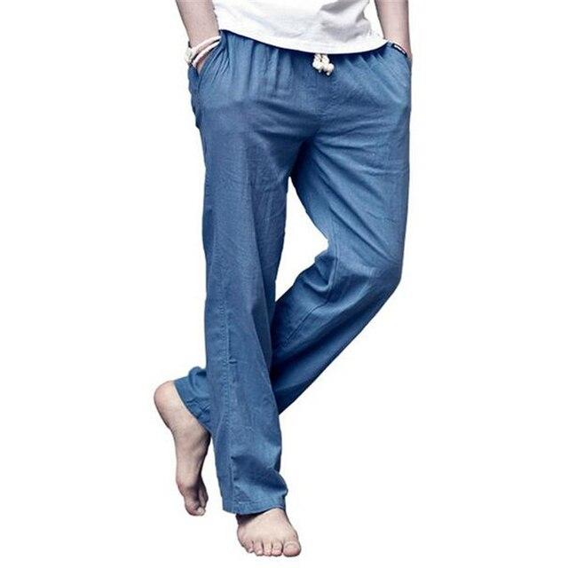 2017 Летние Мужчины Белье Повседневные Брюки Новая Мода Эластичный Пояс Мягкий Одежда Удобные Пляжные Брюки 7 Цветов Свободные Бегуны