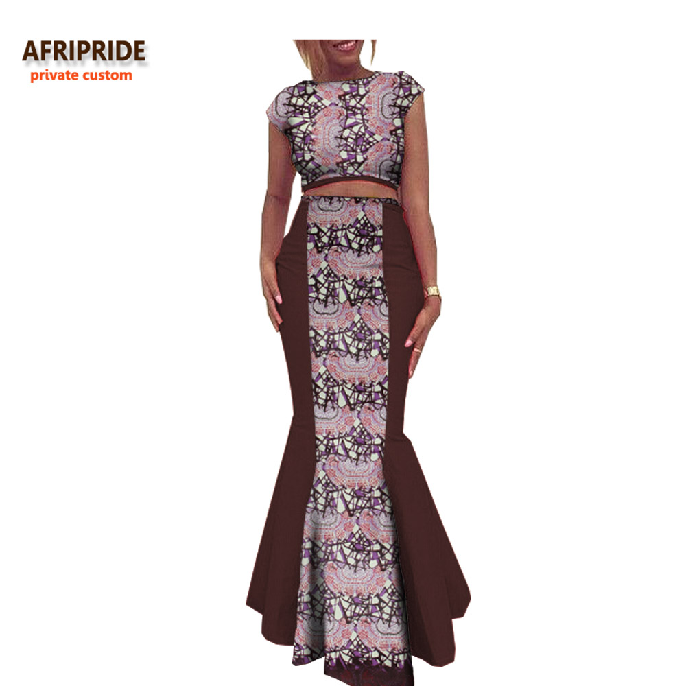 2018 autumn african clothing women 2 pieces suit AFRIPRIDE short sleeve top ankle length trumpet skirt