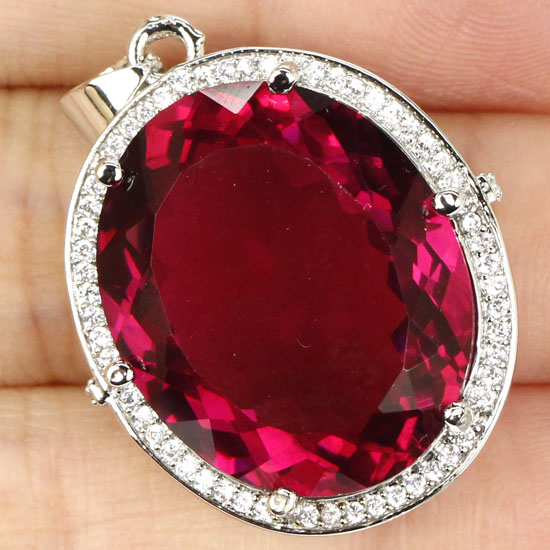 Long Big Gem 22x18nm Pink Raspberry Rhodolite Garnet CZ Woman s Gift 925 Silver Pendant 30x22mm