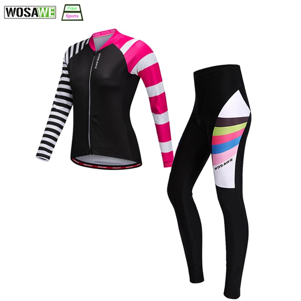 WOSAWE Pro Cycling Womens Bicycle Clothing Cycling Jersey Downhill MTB Bike Clothing Comfortable Pad Seating Pants SetsWOSAWE Pro Cycling Womens Bicycle Clothing Cycling Jersey Downhill MTB Bike Clothing Comfortable Pad Seating Pants Sets