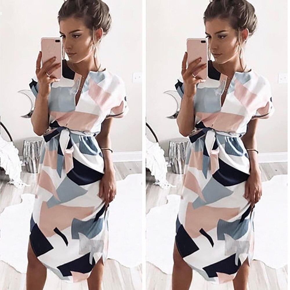 2017 vestido de verano mujeres elegante trabajo OL Casual V cuello manga corta geométrica imprime el vestido flojo