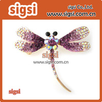 purple rhinestone dragonfly insect brooch pin