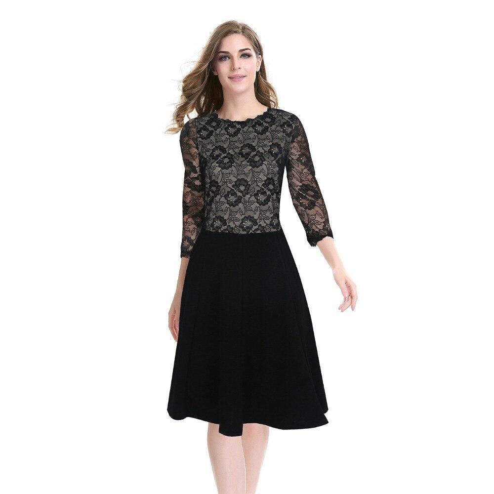 Black dress office - Women Pink Lace Skater Dresses 2016 Lady Fashion Black Office O Neck Long Sleeve Bodycon