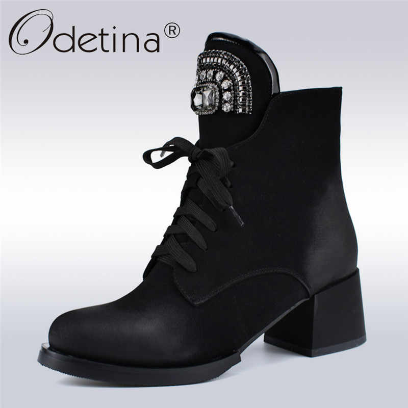 Odetina New Fashion Brand Lace Up Ankle Boots Women Chunky Heel Rhinestone  Crystal Russia Boots Side a8d1f65c6781