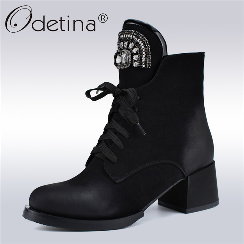Odetina New Fashion Brand Lace Up Ankle Boots Women Chunky Heel Rhinestone Crystal Russia Boots Side Zipper Autumn Winter ShoesOdetina New Fashion Brand Lace Up Ankle Boots Women Chunky Heel Rhinestone Crystal Russia Boots Side Zipper Autumn Winter Shoes