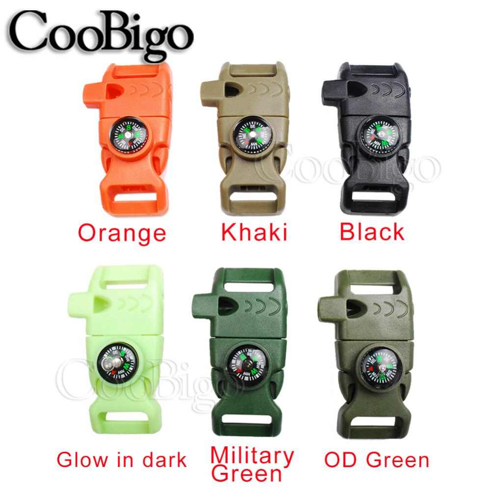 "1pcs 5/8"" Side Release Whistle Compass Buckle Scraper Parachute 550 Cord Paracord Bracelet Outdoor Camp Backpack Survival Kits"