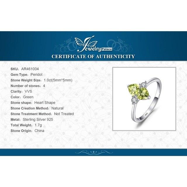 JewelryPalace Del Cuore di Amore 1.1ct Genuino Peridoto Anello di Cluster Per La Donna Solid 925 Sterling Argento Dei Monili di Fidanzamento Anello di Cerimonia Nuziale