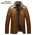 Free shipping winter fur one lapel casual plus velvet thick leather jacket coat / M-3XL