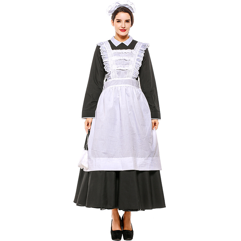 Girls Victorian Maid Costume Childs Poor Peasant Fancy Dress Book Week Outfit