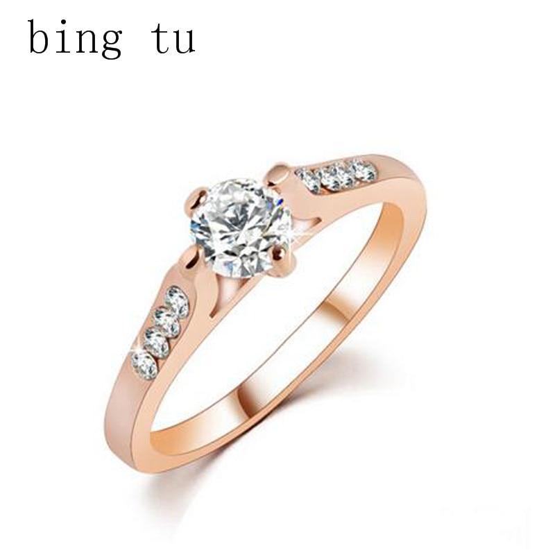 bing tu ol style simple gold color women ladies wedding rings cubic zirconia dubai jewelry bride - Ladies Wedding Rings