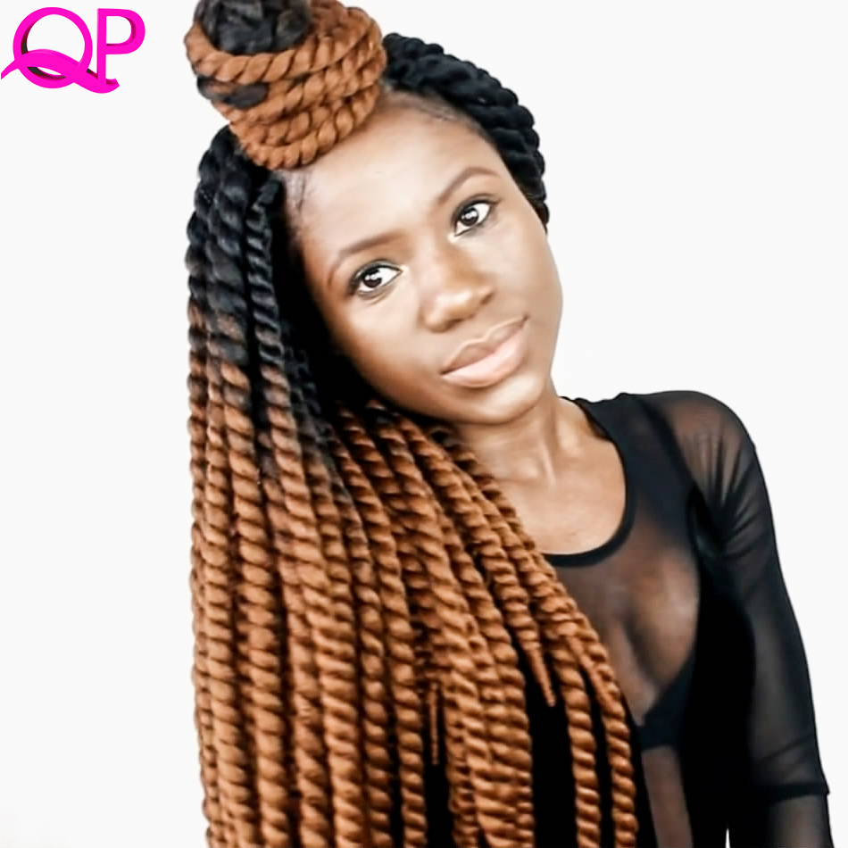Qp Hår 12 Strängar Mambo Twist NO CORNROWS CROCHET BRAIDS Syntetisk Hår Kanekalon Braid Crochet Hair Extensions