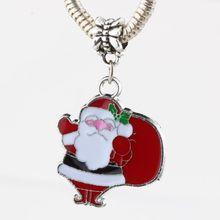 Hot Sell ! 10pcs Red Enamel Santa Claus Charm Dangle Bead Fit Bracelet DIY Jewelry 24x39mm  nm375