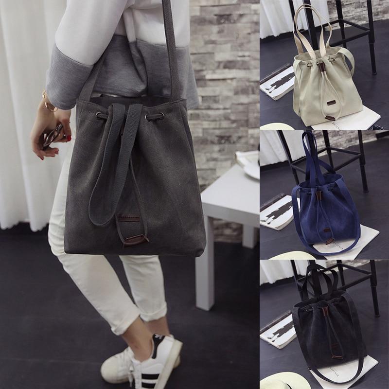 Canvas Drawstring Bucket Bag Large Shoulder Handbags Women's Vintage Messenger Bags Solid Versatile