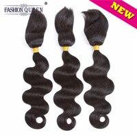 Reine de La mode Brésilienne Corps Vague Cheveux 3 Bundles Tresse En Faisceaux 12-28 Pouce Pas Coudre Aucun Crochet Aucun Colle Non-Remy de Cheveux Humains armure