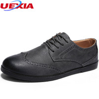 UEXIA Spring Leather Breathable Casual Shoes Men Lace Up High Quality Leather Bullock Shoes Male Footwear