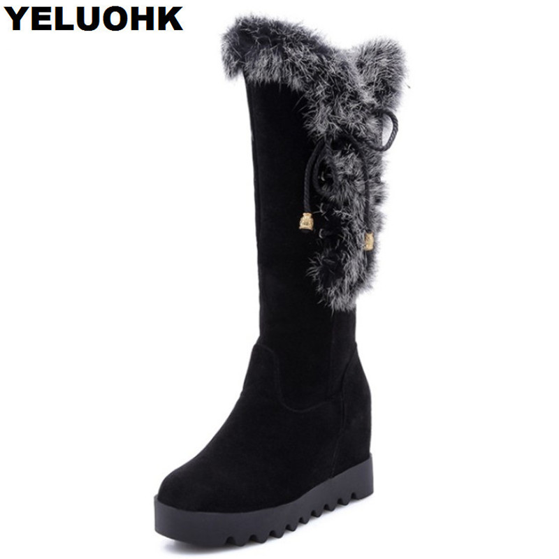 Plush Mid Calf Boots Women Shoes Warm Platform Snow Boots Female With Fur Comfortable Winter Boots Woman Shoes High Quanlity цены онлайн