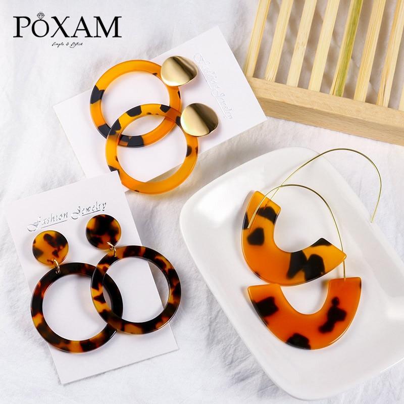 Acrylic Earrings Statement Korean Drop Earrings 2019 For Women Fashion Geometric Round Resin Leopard Earrings Jewelry Brincos