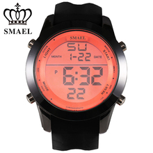 SMAEL Digital Watch Men Waterproof Sport Watches Male Clock Alloy Dial Silicone Strap LED Digital Watch montre homme WS1076