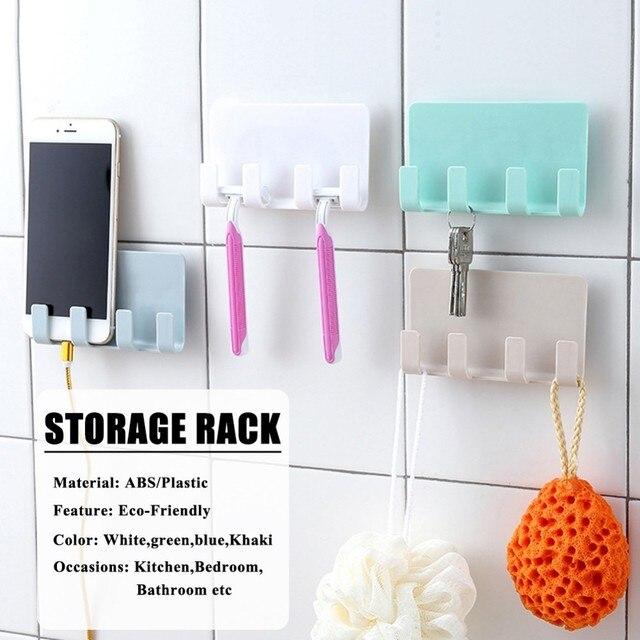Stick Type Innovative Bracket Support Phone Charger Wall Mounted 4 Hooks Hanger Storage Rack Bathroom Hanging